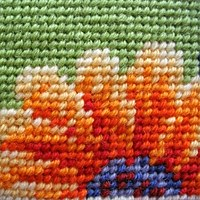 needlepoint in basketweave on penelope canvas